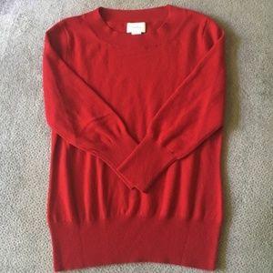 Neiman Marcus 100% Red Cashmere Crew Neck Sweater